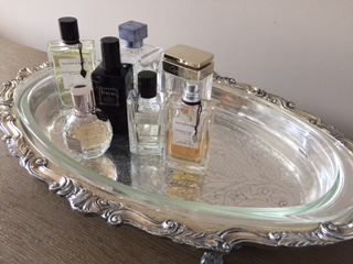 Favorite Fragrances on Great Grandmother, Amelia's serving tray
